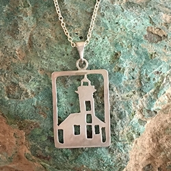 East Harbor Lighthouse Michigan Upper Peninsula Sterling Silver U.P. pendant, Marquette, lake superior, beth millner, upper peninsula, michigan, handcrafted, east bay light house