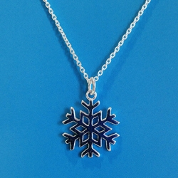 Snow Flake Necklace Sterling Silver U.P. pendant, Marquette, lake superior, beth millner, upper peninsula, michigan, handcrafted