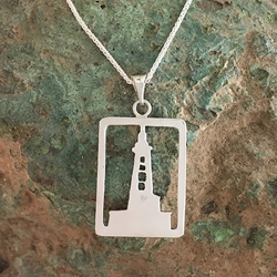 Stannard Rock Lighthouse Michigan Upper Peninsula Sterling Silver U.P. pendant, Marquette, lake superior, beth millner, upper peninsula, michigan, handcrafted, stannard rock lighthouse