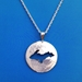 U.P. Pendant - Michigan Upper Peninsula Sterling Silver Round Cutout - uppen003