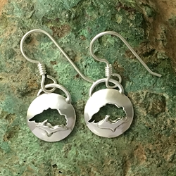 U.P. Earrings - Michigan Upper Peninsula and Lake Superior Sterling Silver U.P. pendant, earrings, Marquette, lake superior, beth millner, upper peninsula, michigan, handcrafted
