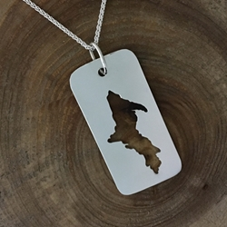 U.P. Pendant - Michigan Upper Peninsula Sterling Dog Tag U.P. pendant, Marquette, lake superior, beth millner, upper peninsula, michigan, handcrafted